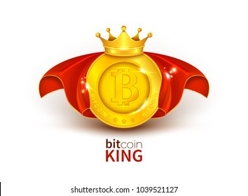 Vector 3d realistic golden bitcoin in red cloak, with royal crown on it, popular cryptocurrency, number one in world isolated on background. Internet technology, business success concept illustration