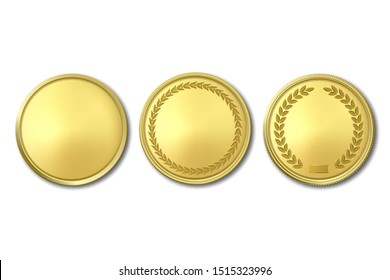 Vector 3d Realistic Golden Metal Blank Coin Icon Set Closeup Isolated on White Background. Design Template, Clipart of Gold Money, Medal, Currensy for Mockup. Financial, Business Concept. Top View
