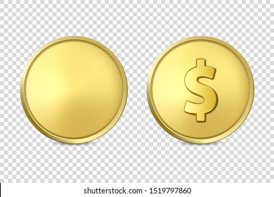 Vector 3d Realistic Golden Metal Coin Icon Set, Blank and with Dollar Sign, Closeup Isolated on Transparent Background. Design Template, Clipart of Gold Money, Currency. Financial Concept. Front View
