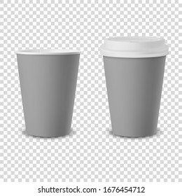 Vector 3d Realistic Gray Disposable Opened and Closed with White Lid Paper, Plastic Coffee Cup for Drinks Icon Set Closeup Isolated on Transparent Background. Design Template, Mockup. Front View