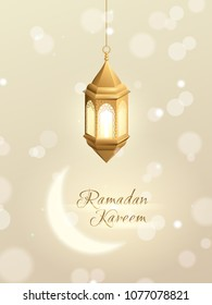 """Vector 3d realistic greeting card with hanging gold islamic lantern, shiny moon and a text """"Ramadan Kareem"""". Light elegant background with effect bokeh."""