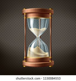 Vector 3d realistic hourglass with running sand inside, isolated on dark transparent background. Wooden body with golden elements in retro style. Time passing or countdown concept.