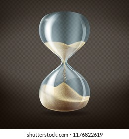 Vector 3d realistic hourglass with running sand inside, isolated on dark transparent background. Concept time passing or countdown concept.