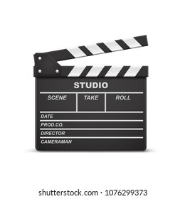 Vector 3d realistic illustration of open movie clapperboard or clapper isolated on background. Black cinema slate board, device used in filmmaking and video production. Film industry equipment