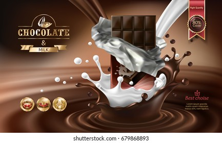Vector 3D realistic illustration, splashes of melted chocolate and milk with falling chocolate bar. Excellent advertising poster for promoting elite dark chocolate