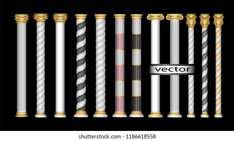 Vector 3D, realistic illustration-columns as a detail of white architecture with gold Roman, Oriental, classic, Corinthian, ionic, Doric simplified, modern large set isolated on transparent background