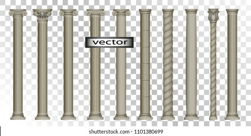 Vector 3D, realistic illustrations-Columns, Roman, Oriental, classic, Corinthian, ionic, Doric simplified, modern, large set of vintage antique colors isolated on transparent background.