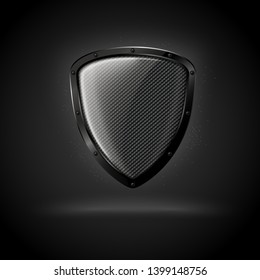 Vector 3d realistic luxury dark carbon shield, isolated on black background. Mock-up for product package branding.