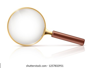 Vector 3d realistic magnifying glass in golden rim, brown wooden handle. Science tool with transparent lens isolated on white background.Optical device for research, exploration. Instrument to magnify