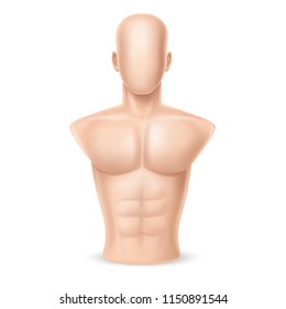 Vector 3d realistic male mannequin, faceless dummy for demonstration of clothes or punching bag, naked human body isolated on white background. Naked doll, manikin for strength practice, exercises.