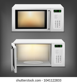 Vector 3d realistic microwave oven with light inside, with open and close door, front view isolated on background. Household appliance to heat and defrost food, for cooking, with timer and buttons