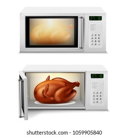 Vector 3d realistic microwave oven with roasted turkey or chicken inside, with open and close door, front view isolated on background. Household appliance for cooking, heating and defrosting food