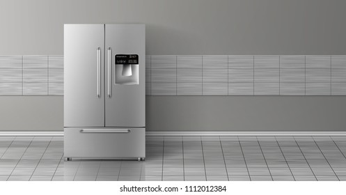 Vector 3d realistic mock up with gray two-chambered refrigerator isolated on tile wall. Modern smart appliance in kitchen, background for design. Decorative template with fridge.