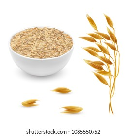 Vector 3d realistic oat ears, grains with white bowl. Detailed cereal plant, agriculture organic crop. Flakes, oatmeal set isolated on white background