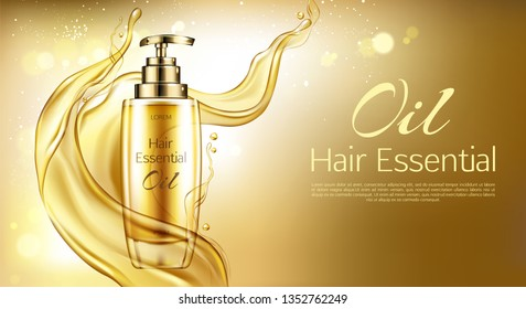 Vector 3d realistic oil essence in golden glass bottle with pump dispenser. Yellow liquid hair serum in splash, background. Oily cosmetics for ad poster, promo banner. Natural vitamins in cosmetic
