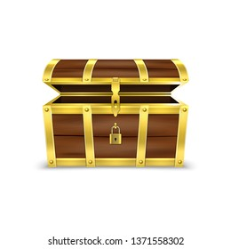 Vector 3d Realistic Opened Empty Retro Vintage Antique Old Treasure Wooden brown Pirate Dower Chest with Golden Metal Stripes and Padlock and Keyhole Closeup Isolated on White Background