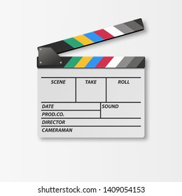 Vector 3d Realistic Opened Movie Film Clap Board Icon Closeup Isolated on White Background. Design Template of Clapperboard, Slapstick, Filmmaking Device. Top View