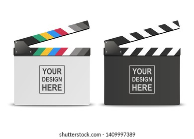 Vector 3d Realistic Opened White and Black Blank Movie Film Clap Board Icon Set Closeup Isolated on White Background. Design Template of Clapperboard, Slapstick, Filmmaking Device. Front View