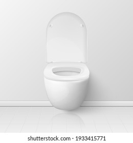 Vector 3d Realistic Opened White Ceramic Toilet Bowl with Lid in the Toilet Room. Plumbing, Mockup, Design Template for Interior, Cleaning, Hygiene Concept. Front View