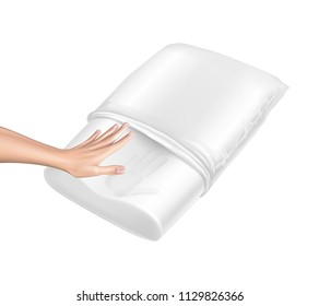Vector 3d realistic orthopedic pillow from natural latex with memory effect. Hand touches white cozy cushion and leaves the trace. Comfortable bedding with orthopaedic, therapeutic effect