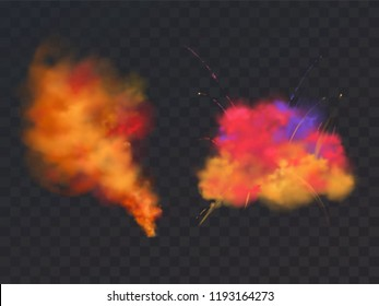 Vector 3d realistic paint powder explosion on transparent background. Symbol of Holi festival, holiday of Hindu spring in India.Dust explode for bright celebration. Pyrotechnics effect, design element