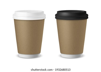 Vector 3d Realistic Paper or Plastic Brown Disposable Tea, Coffee Cup Set with White and Black Lid Isolated. Stock Vector Illustration. Design Template. Front View