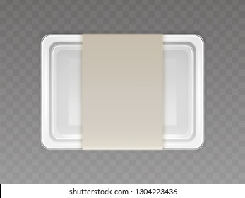 Vector 3d realistic plastic container for food, products with paper cover. Empty styrofoam box isolated on transparent background. Disposable packaging, kitchen or store object.