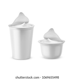 Vector 3d realistic plastic packages with yogurt. Dairy sour cream with foil lid, cap. Mockup of farm product isolated on white background. Elements for ad poster, promo banner of food