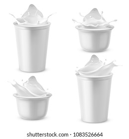 Vector 3d realistic plastic packages with yogurt. Dairy sour cream splashing with foil lid. Mockup of farm product isolated on white background. Different elements for ad poster, promo banner of food