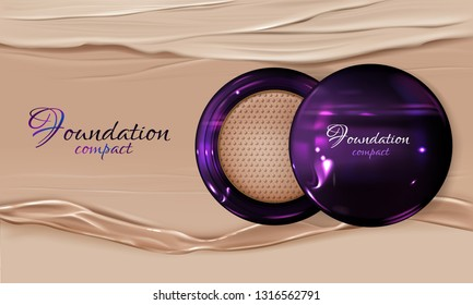Vector 3d realistic poster with compact foundation - violet package with mirror, beauty makeup product. Top view on facial cosmetic, blusher or female rouge. Cosmetics on splashing backdrop.