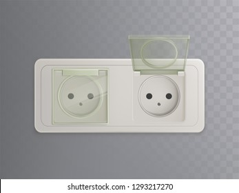 Vector 3d realistic power socket with plastic caps, covers for protection, child-proofed system. Electricity object isolated on transparent background. European connection, household electrical source