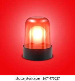 Vector 3d Realistic Red Turn On Police Flasher Siren Closeup Isolated on Red Background. Light, Beacon For Police Car, Ambulance, Fire Trucks. Emergency Flashing Siren. Front View