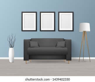 Vector 3d Realistic Render Black Modern Sofa, Couch with Pillows in Simple Style in Room - Apartment, Salon, Art Gallery, Living Room, Reception, Lounge or Office Interior. White Posters On the Wall