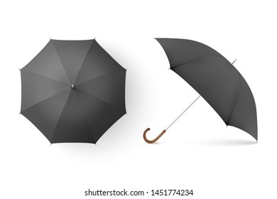 66508ae9c0569 Vector 3d Realistic Render Black Blank Umbrella Icon Set Closeup Isolated  on White Background. Design
