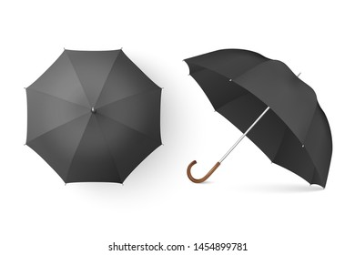 Vector 3d Realistic Render Black Blank Umbrella Icon Set Closeup Isolated on White Background. Design Template of Opened Parasols for Mock-up, Branding, Advertise etc. Top and Front View