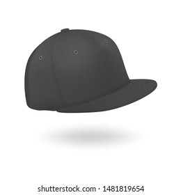 Vector 3d Realistic Render Black Blank Baseball Snapback Cap Icon Closeup Isolated on White Background. Design Template for Mock-up, Branding, Advertise. Front and Side View