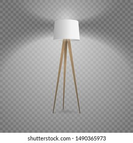 Vector 3d Realistic Render Illuminated Lamp Closeup Isolated on Transparent Background. Floor Lamp. Template of Electric Torchere for Interior Design, Energy Furniture. Home Equipment in Modern Style