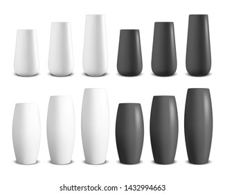 Vector 3d Realistic Render White and Black Ceramic Vase Set Closeup Isolated on White Background. Floor Bowls. Template for Mockup, Interior Design. Home Equipment in Simple Modern Style