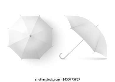 Vector 3d Realistic Render White Blank Umbrella Icon Set Closeup Isolated on White Background. Design Template of Opened Parasols for Mock-up, Branding, Advertise etc. Top and Front View
