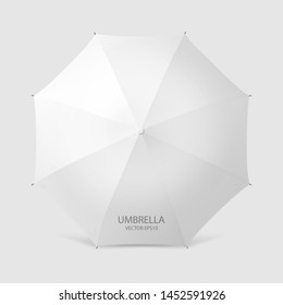 Vector 3d Realistic Render White Blank Umbrella Icon Closeup Isolated on White Background. Design Template of Opened Parasol for Mock-up, Branding, Advertise etc. Top View