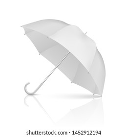 Vector 3d Realistic Render White Blank Umbrella Icon Closeup Isolated on White Background. Design Template of Opened Parasol for Mock-up, Branding, Advertise etc. Front View