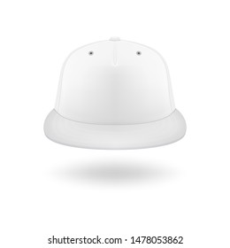 Vector 3d Realistic Render White Blank Baseball Snapback Cap Icon Closeup Isolated on White Background. Design Template for Mock-up, Branding, Advertise. Front View
