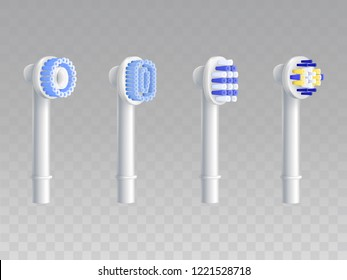 Vector 3d realistic set of removable nozzles for toothbrushes. Different types of fiber setae, bristles for hygiene product. Dentist equipment, modern electric technology. Oral cleaning, prophylaxis.