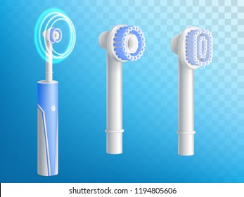Vector 3d realistic set of toothbrushes, removable nozzles for hygiene product. Dentist equipment, modern electric technology with ultrasound. Fiber setae, bristles and gum. Oral cleaning, prophylaxis