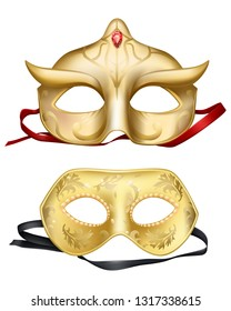 Vector 3d realistic set with Venetian face masks. Golden element for traditional Mardi Gras carnivals, holiday masquerade, costumed party dressing part illustration. Mystery, secret concept.