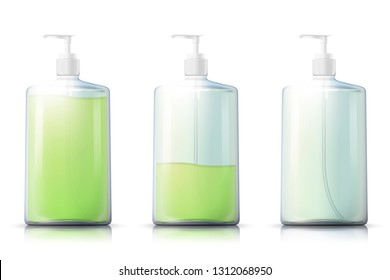 Vector 3d realistic shampoo pump bottle with liquid gel inside, isolated on white background. Mock-up for product package branding.