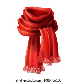 Vector 3d realistic silk red scarf. Knitted fabric cloth, alpaca wool for winter. Scarlet velvet textile, cashmere unisex knitwear isolated on white background