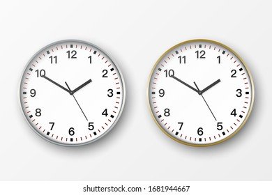 Vector 3d Realistic Simple Round Silver and Gold Wall Office Clock with White Dial Icon Set Closeup Isolated on White Background. Design Template, Mock-up for Branding, Advertise. Front or Top View