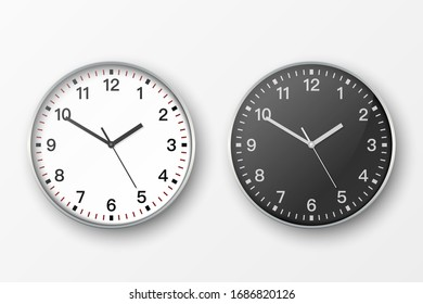 Vector 3d Realistic Simple Round Gray Silver Wall Office Clock. White and Black Dial Icon Set Closeup Isolated on White Background. Design Template, Mock-up for Branding, Advertise. Front or Top View