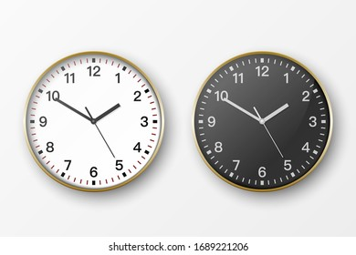 Vector 3d Realistic Simple Round Golden Wall Office Clock. White and Black Dial Icon Set Closeup Isolated on White Background. Design Template, Mock-up for Branding, Advertise. Front or Top View